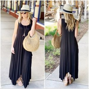 Black Asymmetrical Maxi Dress with Pockets
